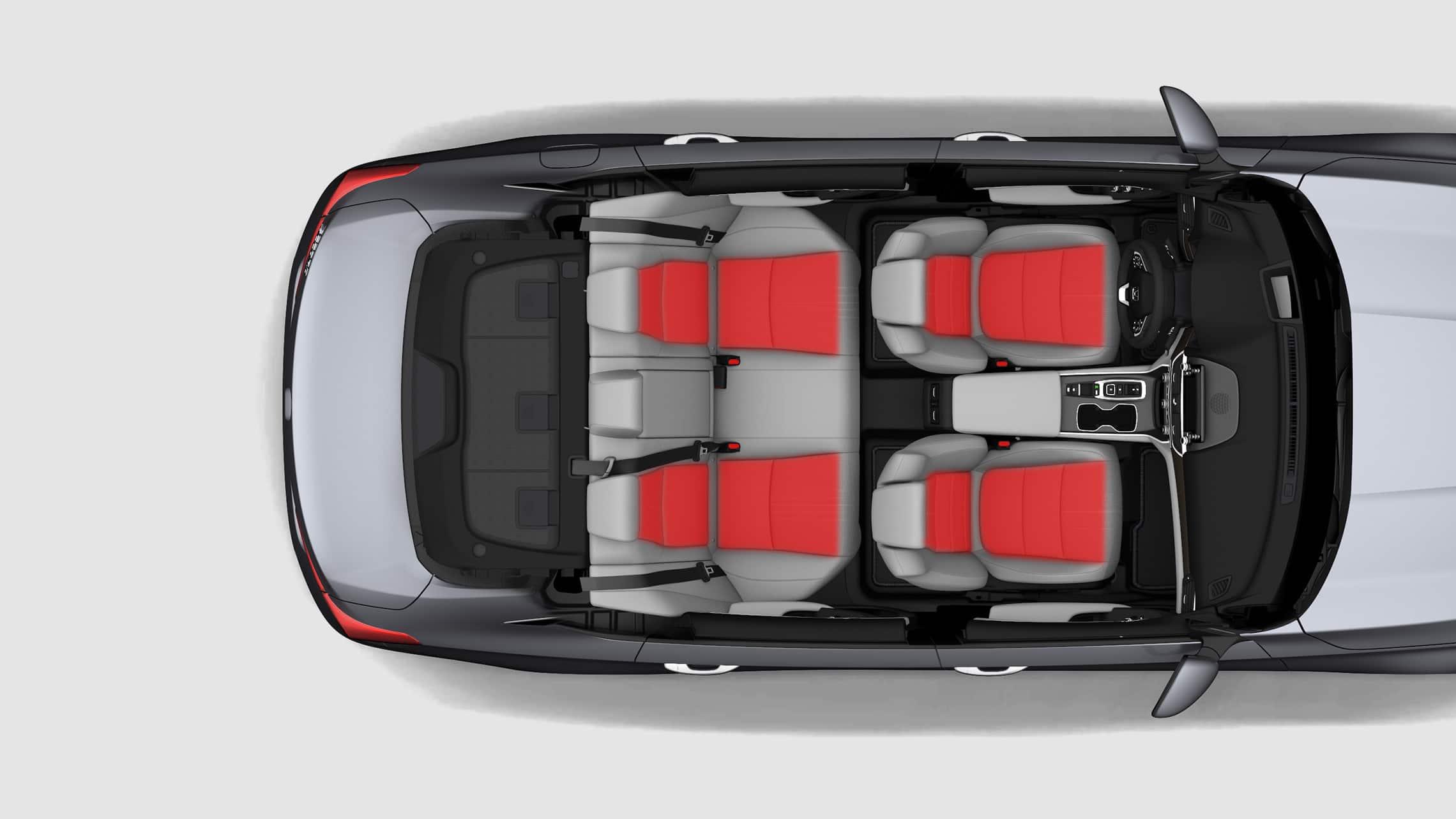 Vista interior aérea del Honda Accord Touring2.0T2020 con ondas de temperatura ilustradas que muestran asientos delanteros y asientos traseros laterales calefaccionados.