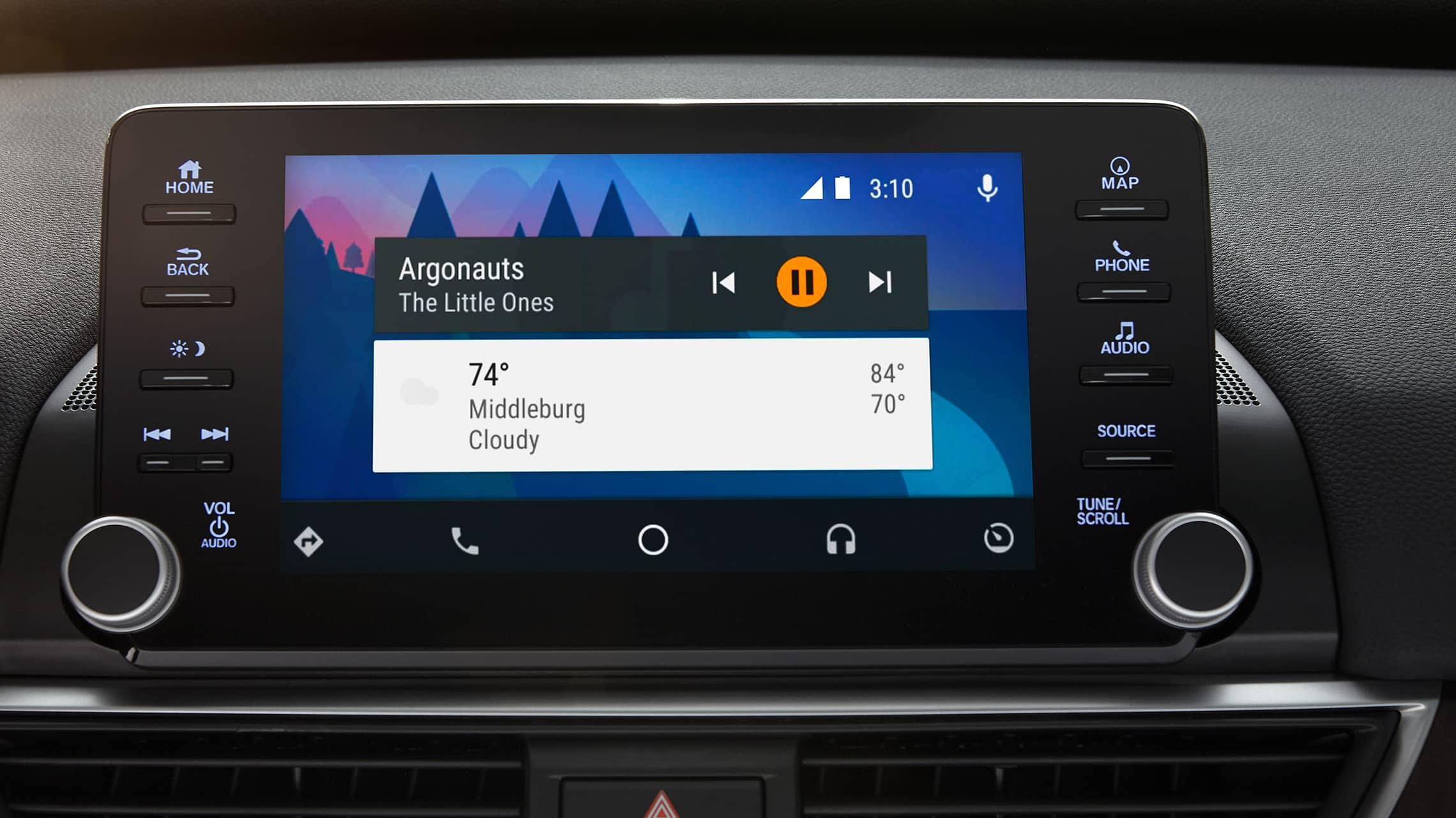 Detalle de la integración con Android Auto™ en el sistema de audio en pantalla táctil del Honda Accord Touring2.0T2020.