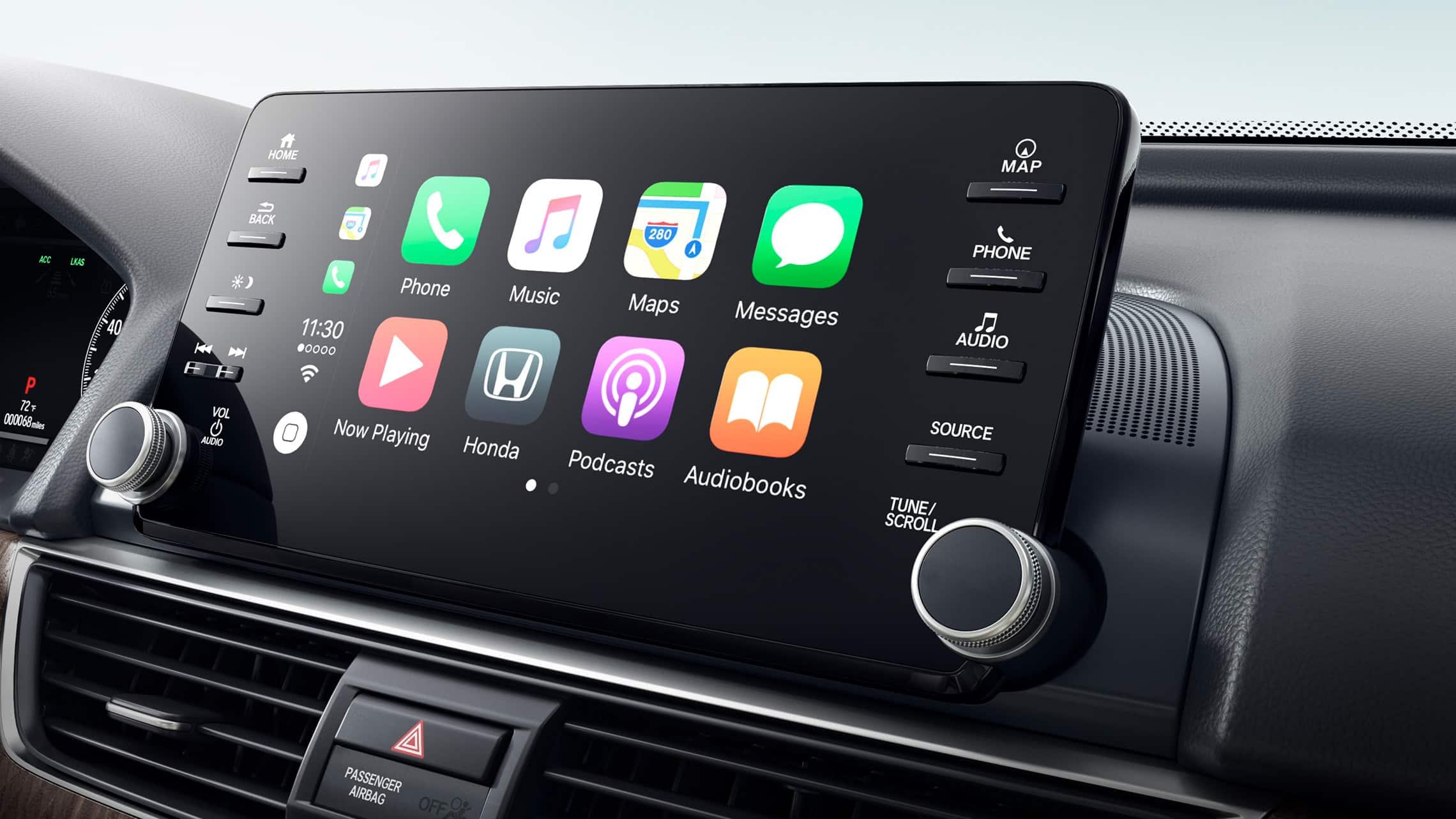 Integración con AppleCarPlay® en el sistema de audio en pantalla táctil del Honda Accord Touring2.0T2020.