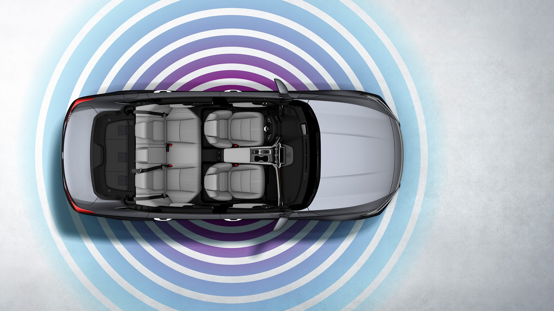 Vista interior aérea del HondaAccord2020 con ondas de señal wifi ilustradas.