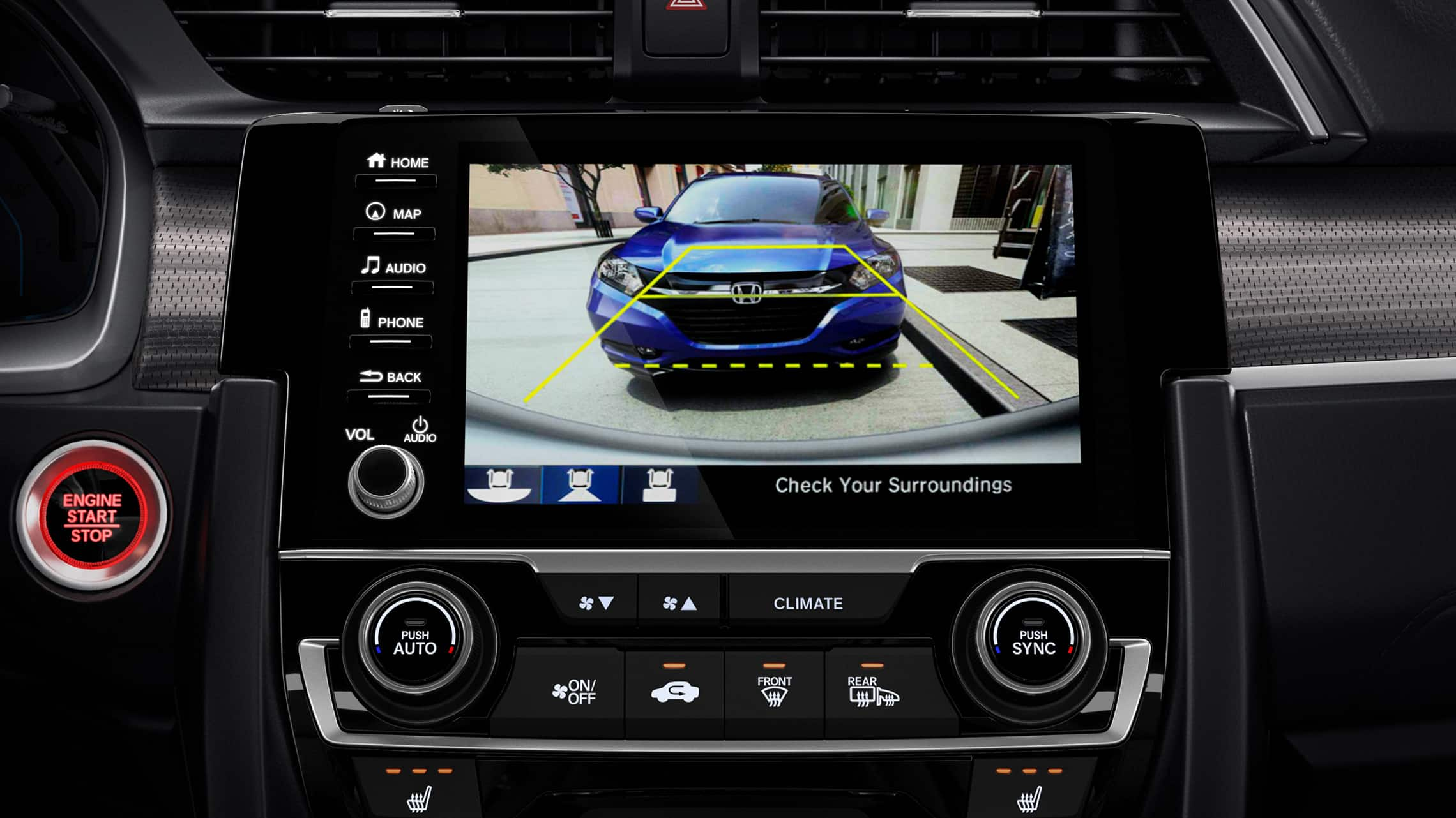 Multi-angle rearview camera detail displayed on Display Audio touchscreen in the 2020 Honda Civic Coupe.