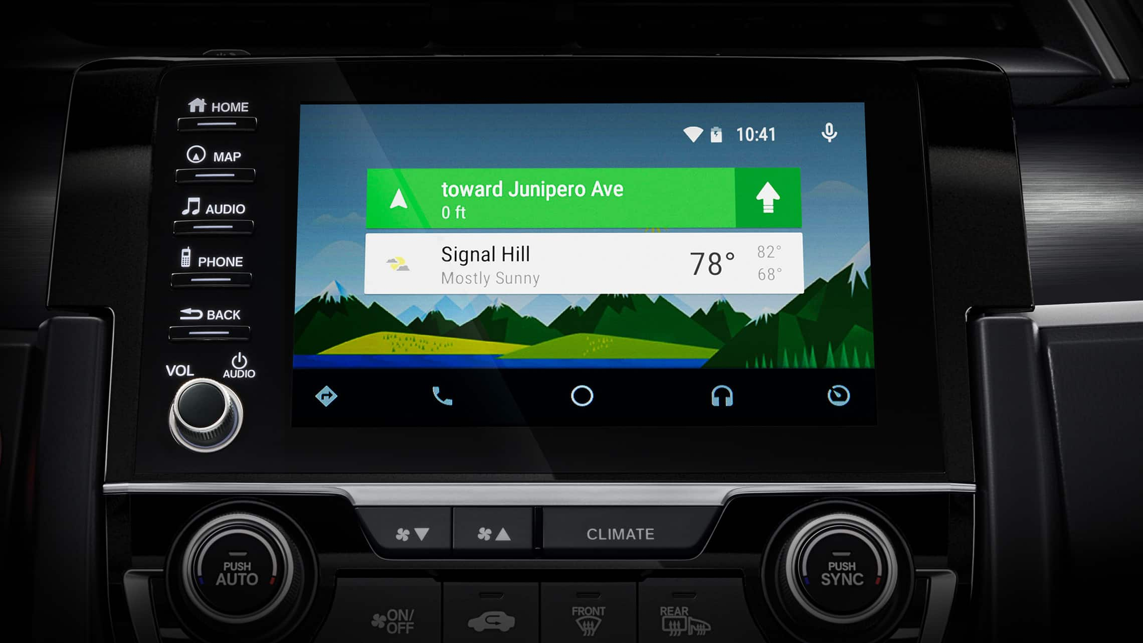 Detalle de pantalla de Android Auto™ en el sistema de audio en pantalla táctil del HondaCivicSportTouringHatchback2021.