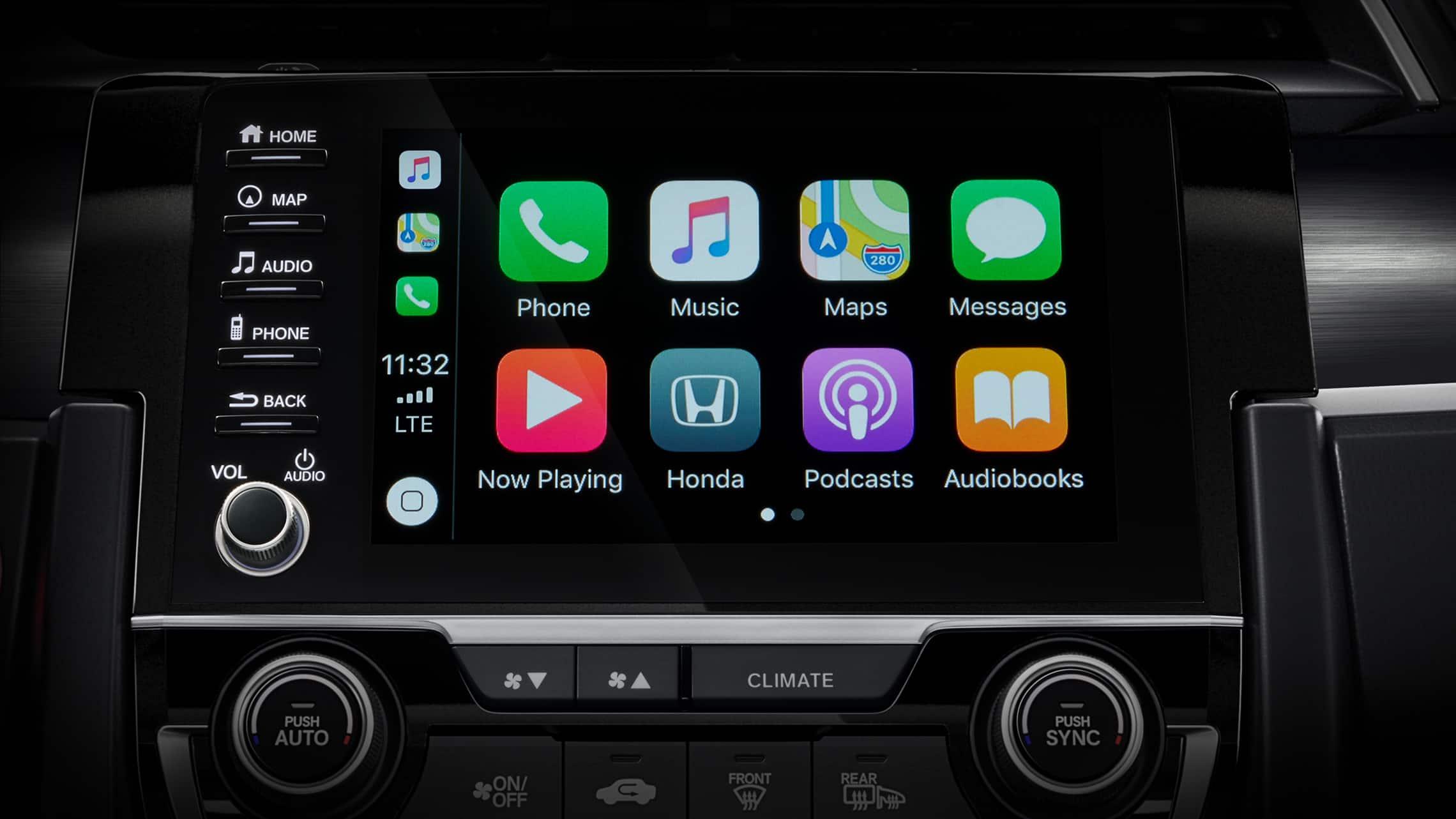 Detalle de pantalla de Apple CarPlay® en la pantalla táctil del sistema de audio del Honda Civic Sport Touring Hatchback2020.