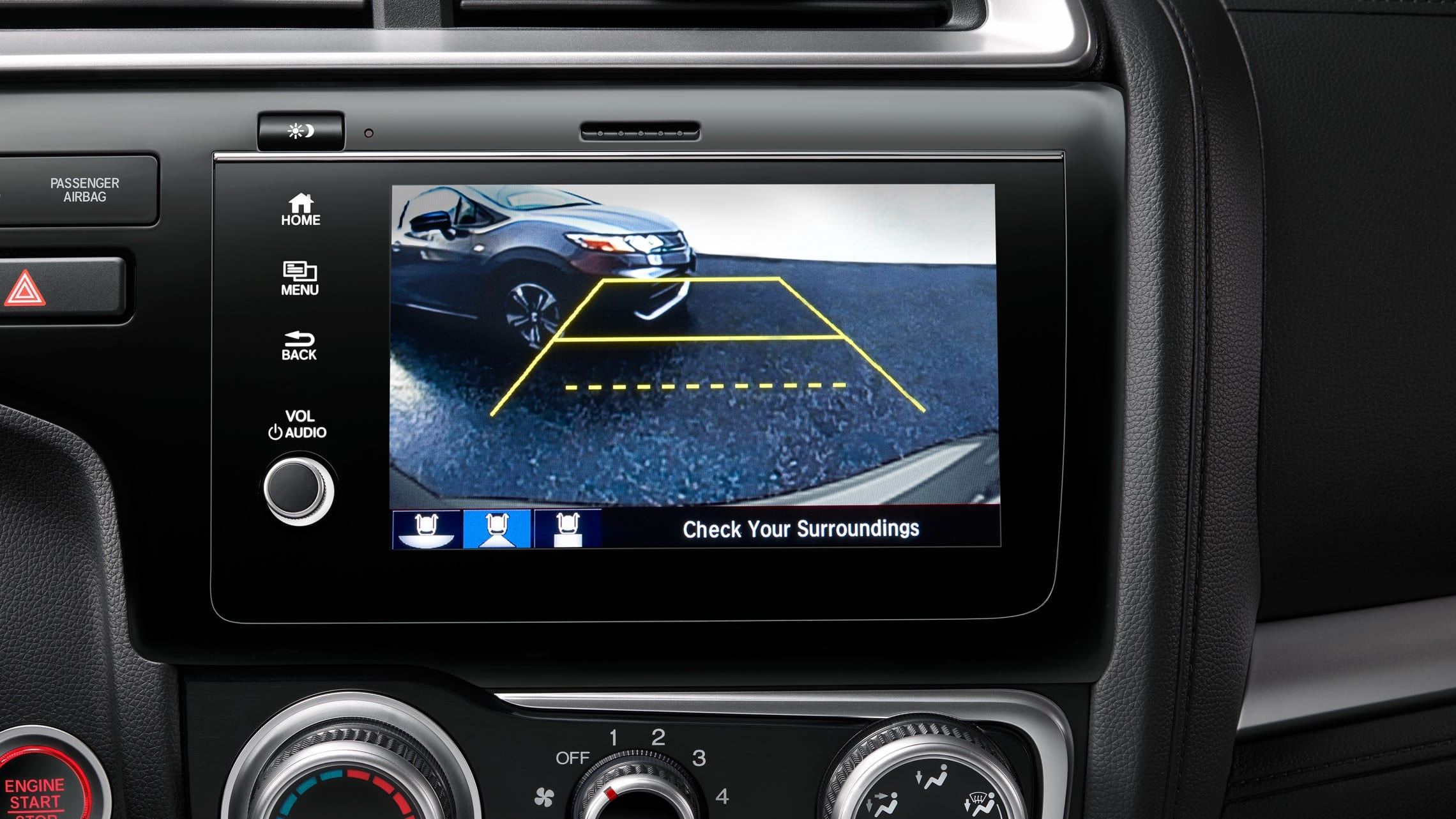 Display Audio touch-screen with multi-angle rearview camera detail displayed on 2020 Honda Fit.