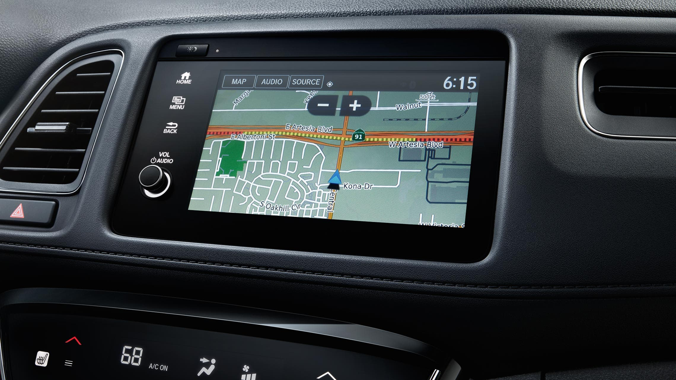 Honda Satellite-Linked Navigation System™ detail on Display Audio touch-screen in the 2020 Honda HR-V Touring.