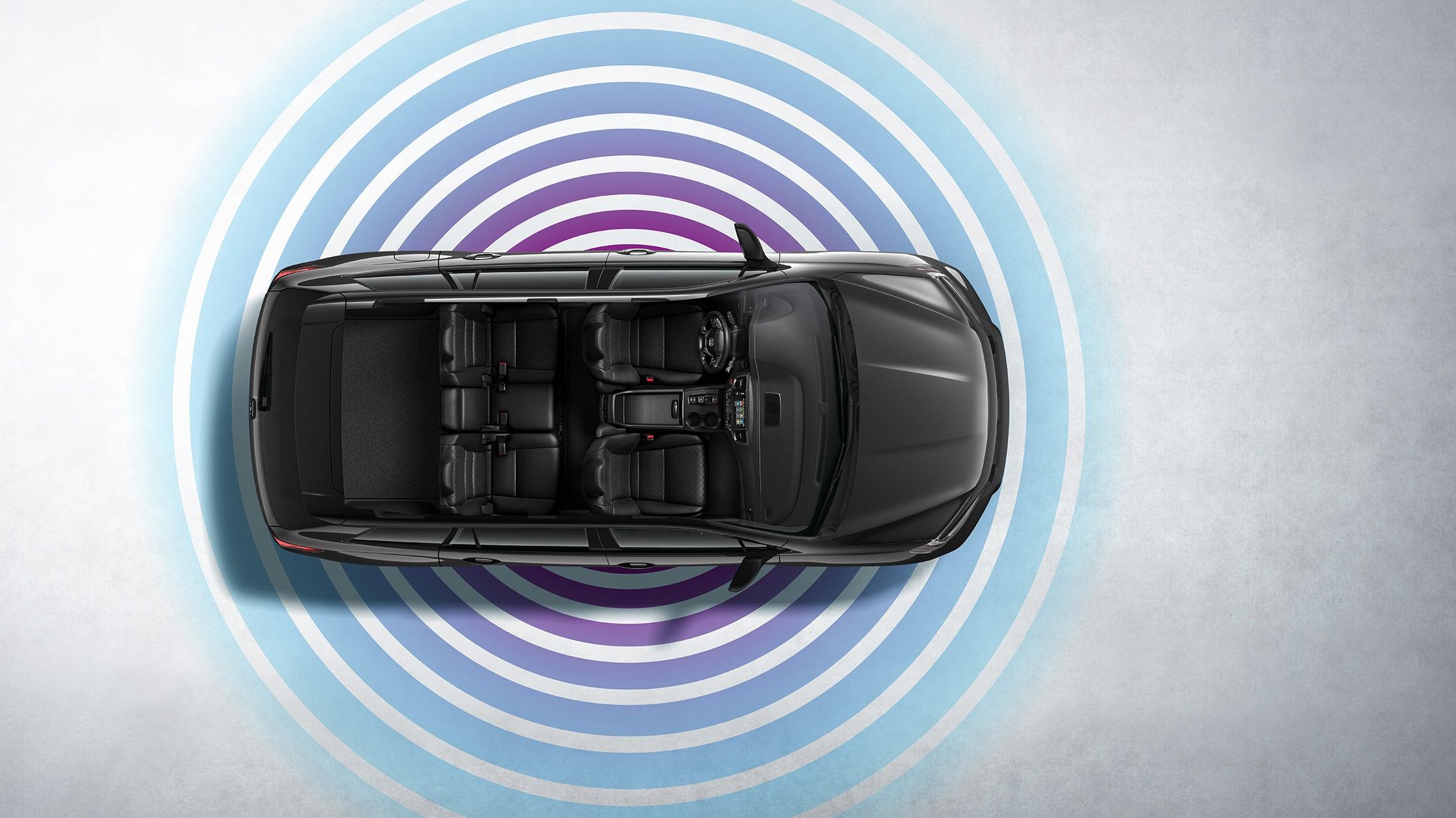 Vista aérea de la Honda Passport Elite2020 en Modern Steel Metallic que muestra la característica de zona interactiva wifi.