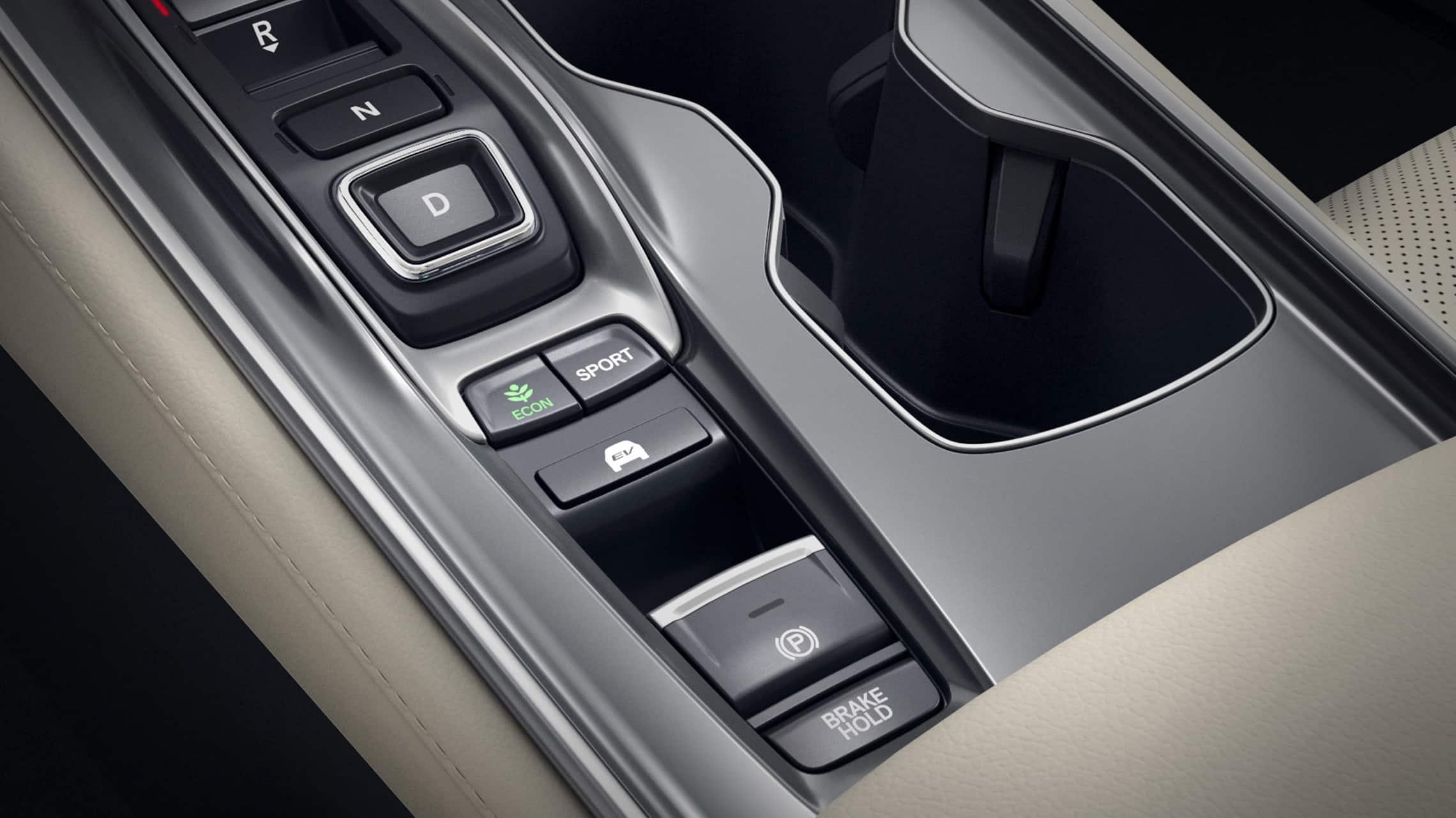 Detalle del selector de modo EV del HondaAccord HybridTouring2021.