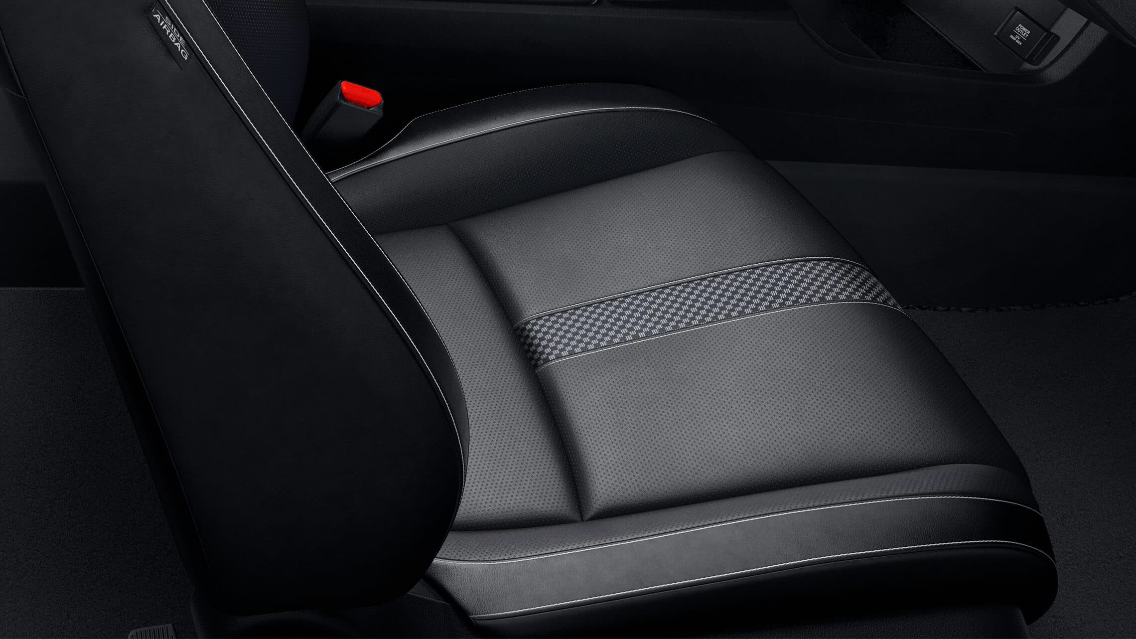 Close-up view of the leather-trimmed seats on the 2021 Honda Civic Touring Sedan with Black Leather.